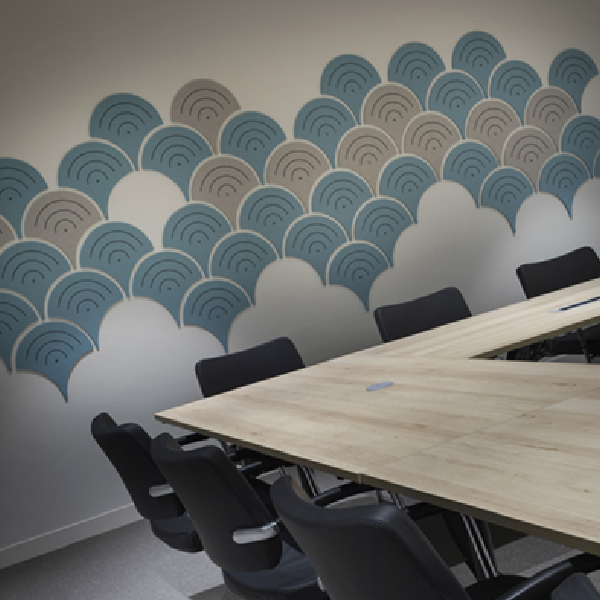 Wall cladded design using acoustic material bespoke CAD cut shapes