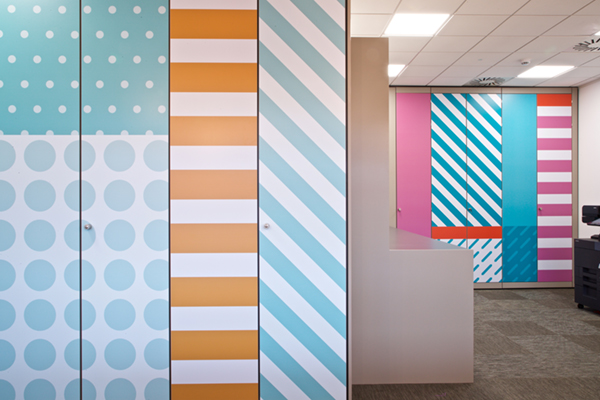 Colourful patterns on store wall graphics