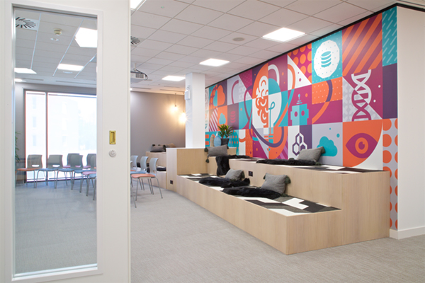 large wall graphic with colourful design