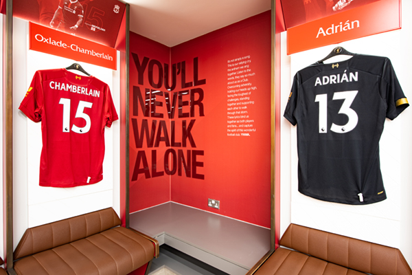 A wide range of graphics installed at Liverpool FC changing rooms. Including signage, player names (sprayed panels).
