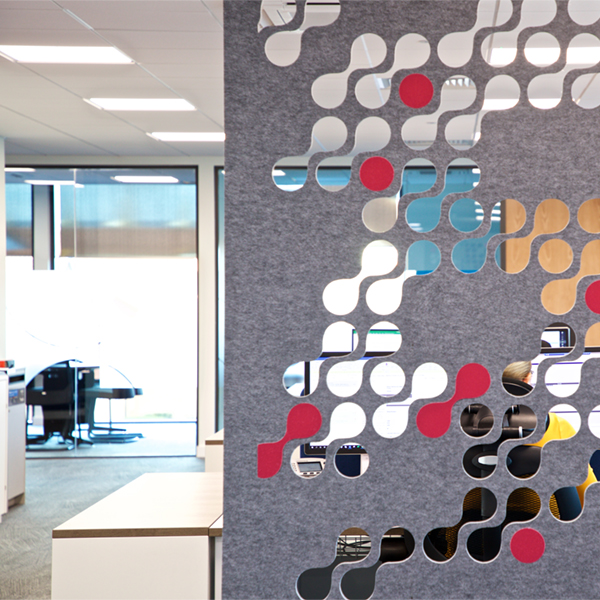 Acoustic screens with cut outs