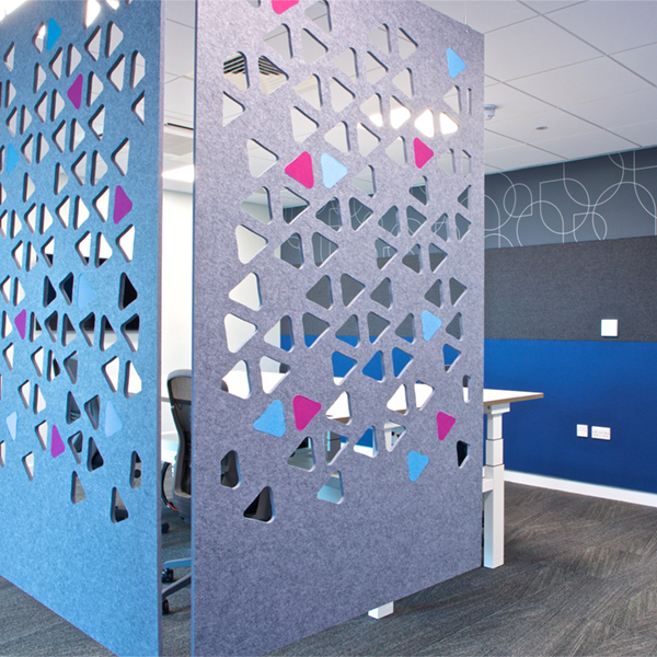 Hanging acoustic screens with cutouts