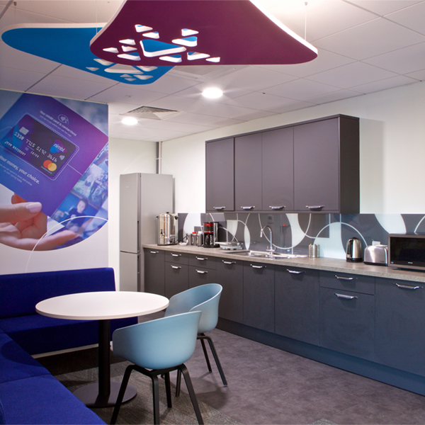 Cut out acoustic screens overlapping with splashback back printed