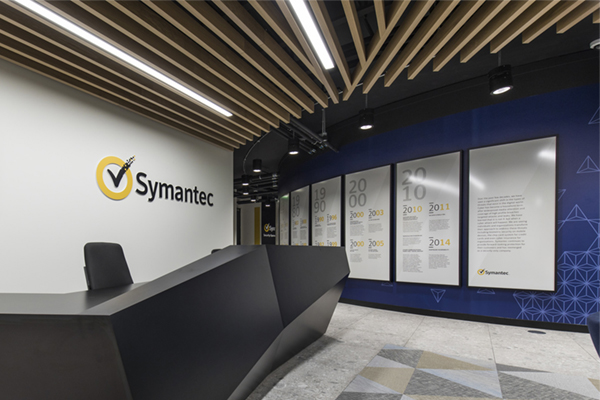 Symantec_reception framed graphics and signage