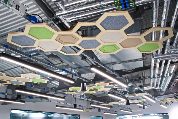 Honeycomb acoustic ceiling