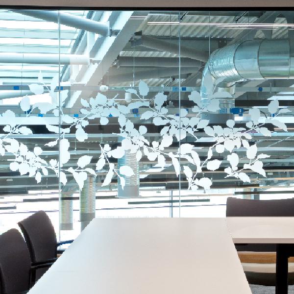 Leaf design manifestation to office glazing
