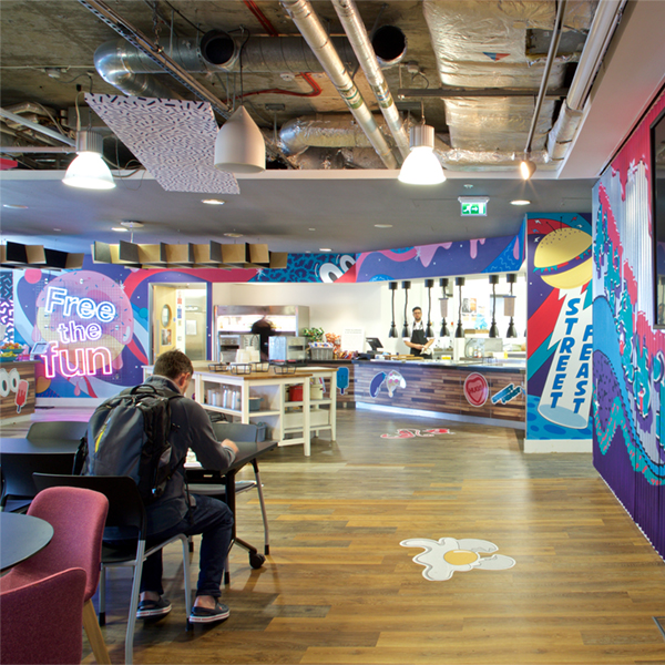 open plan cafe graphics