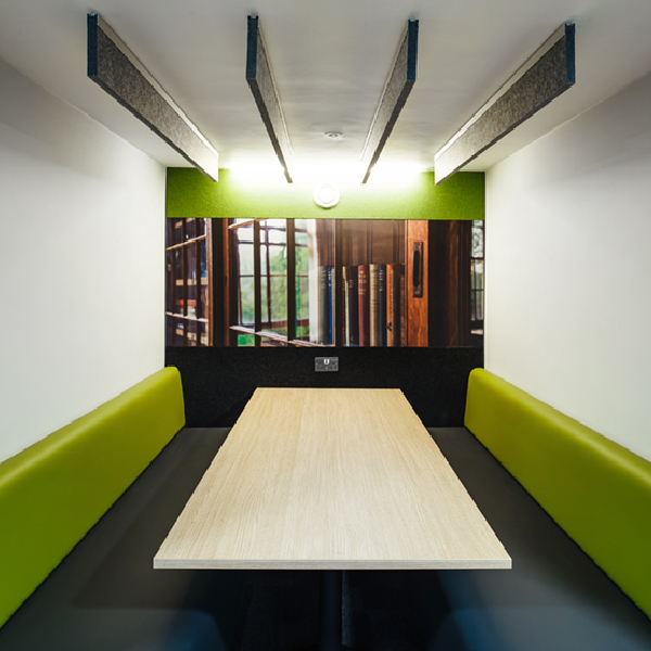 Booth acoustic wall graphic and ceiling baffles - ALTO Architectural Acoustic